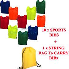 10 FOOTBALL Sports TRAINING BIBS Direct Kids Adult Child Girls Boys Coloured BAG