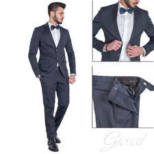 Vestido Elegante Hombre vestido Chaqueta Pantalones Azul Color Liso GIOSAL