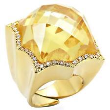 W030 BIG CITRINE YELLOW COCKTAIL SIMULATED DIAMOND RING WOMENS STATEMENT