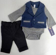 Cherokee Newborn 3-Piece Cardigan Bodysuit Pant Set Baby Boy Clothing
