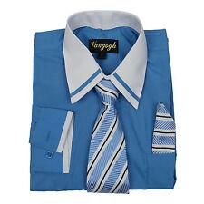 Niños Azul Intenso Camisa Blanco Contraste Manga Larga Corbata & Pañuelo Talla 4