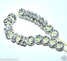 AAA Stinco Spacer Beads, Argento, Bianco chiaro, opzione per Taglia 6, 8, 10 MM *