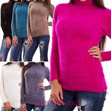 Maglione donna pullover dolcevita lupetto ecopelliccia manica lunga nuovo YD-329