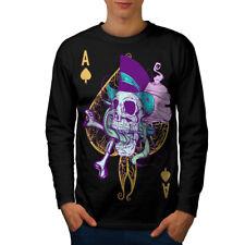 Ace Spade Card Skull Men Long Sleeve T-shirt NEW | Wellcoda