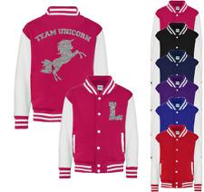 Personalised Team Unicorn Kids Varsity Jacket American Style Collage Jacket