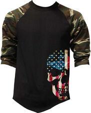 New listing Men's Americana Skull Camo 3/4 Sleeve Baseball Raglan T Shirt Usa Flag Army Us