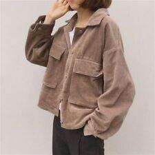 Damen Cord Jacke Top Hemd Mantel Freizeit Vintage Übergröße Locker Mode Retro