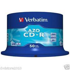 Verbatim CD -R AZO Crystal Pack Spindle vergini vuoti per audio 700MB 52x 43343