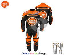 Naranja dos piezas Lucky Strike moto chaqueta de cuero y pantalón a juego Venta