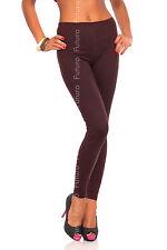 Full Length Brown Premium Cotton Leggings Comfortable Stretchy Pants Sizes 8-22