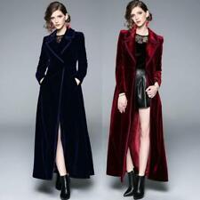Womens Formal Vintage Velvet Long Parka Party Maxi Trench Coat Blazer Dress Size
