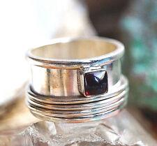 Drehring 54 62 Massiv Handarbeit Granat Ring Silberring Schlicht Eckig Silber