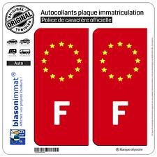 2 Autocollants plaque immatriculation : F France Identifiant Européen Fond Rouge