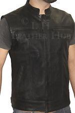 """Homme """"cut off"""" moto gilet veste en cuir noir véritable"""