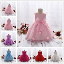 Infant Baby Girl Birthday Wedding Pageant Party Princess Tutu Bow Flower Dress