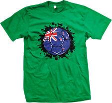 New Zealand Flag Soccer Ball Team Aotearoa Kiwi Colors Goal NZL NZ Men's T-Shirt