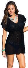 Laura Women's Swimwear Cover Up V-Neck Short Black Beach Dress S M L XL