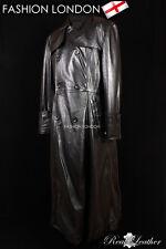 'MORPHEUS' Black Men's Lambskin Full-Length Leather Long Trench Coat Jacket