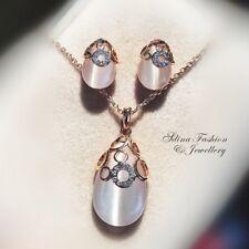 18K Rose Gold Filled Simulated Opal & Diamond Circle Teardrop Set Jewellery