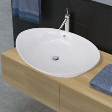 vidaXL Ceramic Basin Oval with Overflow 59x38.5x19cm Bathroom Fixture Sink