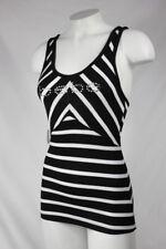 Bebe t shirt top tank logo crystals basic stripe rib 270197 B/W Black White