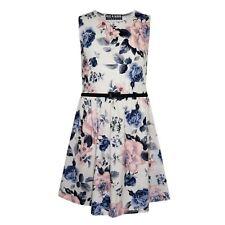 Girls Skater Dress Kids Ivory & Blue Floral Print Summer Party Dresses 7-13 Year