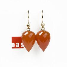 Last One  - Pure Solid 14k Gold Clementine Carnelian Earrings Hook or Leverback