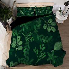 3D Green Leaf 601 Bed Pillowcases Quilt Duvet Cover Set Single Queen King AU