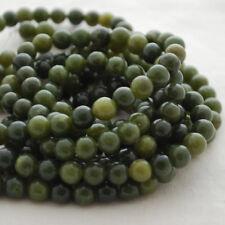 "Grade A Natural Nephrite Jade Gemstone Round Beads - 4, 6, 8, 10mm - 16"" strand"