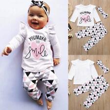 UK Newborn Toddler Infant Baby Girls Letter Print T Shirt Tops Pants Outfits Set