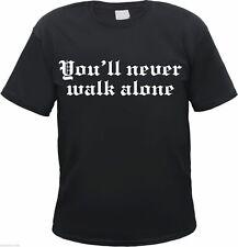 """T-Shirt """" You'll Never Walk Alone """" - schwarz/weiss - ultras fans sos hooligans"""