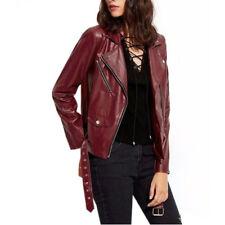 Women Genuine Lambskin Leather Jacket Maroon Slim fit Biker Motorcycle jacket