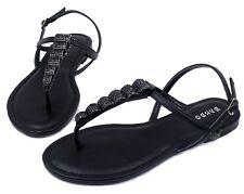 Josalyn-19 Precious Stone Flat Cute Sandals Gladiator Party Women Shoes Black