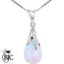 BJC® 9ct White Gold White Opal & Diamond Briolette Drop Pendant / Necklace