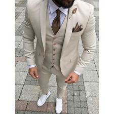 Cream Men's 3 Piece Suits Wedding Groomsman Formal Prom Tuxedos Custom Made