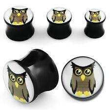 """Pair Acrylic Double Saddle Flare Logo Black Owl Hipster Ear Plugs Gauges 6G-5/8"""""""