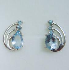 Natural Light blue Aquamarine & zircon 925 Silver 9ct 14k 18k Gold stud earrings