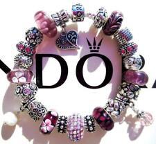 PANDORA Sterling Silver CHARM Bracelet WINE MIST with Murano Beads CC19