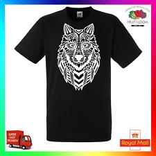 Zentangle Wolf TShirt T-Shirt Tee Unisex Bohemian Art Fresh Black White Xmas