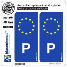 2 Stickers autocollant plaque immatriculation P Portugal - Identifiant Européen