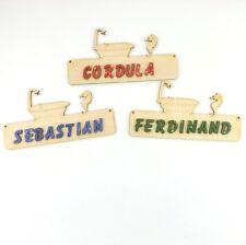 Türschild Namenschild mit Name, Buchstaben, 18cm Holz, Badewanne und Seepferd