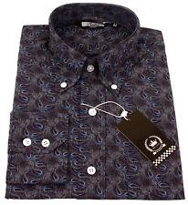 Relco Para Hombre de manga larga azul marino Paisley Botones Camisa Vintage Mod Retro