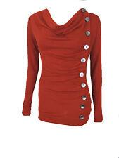 New Sugar Rock Women Shirt Cowl Neck Button Detail Long Sleeve Blouse in Rust