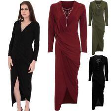 Ladies Long Sleeve V Neck Plunge Chain Lace Up Wrap Side Split Slit Maxi Dress