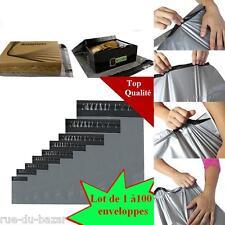Lot de 1 à 100 Enveloppes pochettes plastique opaque gris noir sac envoi postal