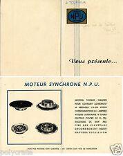 Publicité Turneux NPU Moteur Synchrone pour tourne-disques électrophone