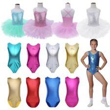 Girl Kids Shiny Metallic Leotard Gymnastics Tank Top Ballet Dancewear Tutu Dress