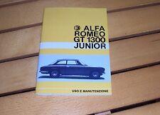 Uso e manutenzione Alfa Romeo GT 1300 Junior SCALINO cruscotto due gobbe 69-70-