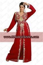 DUBAI ABAYA FANCY KAFTAN Hijab Muslim Islamic Wedding Dress *USA SELLER* MD0529