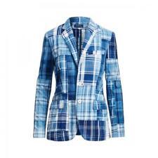 Women's Ralph Lauren Polo Indigo Cotton Patchwork Madras Blazer Jacket New $598